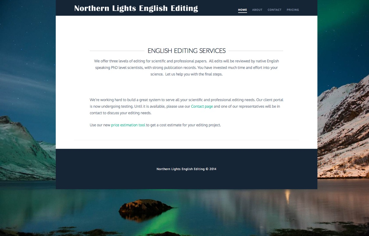Northern Lights English Editing site portfolio