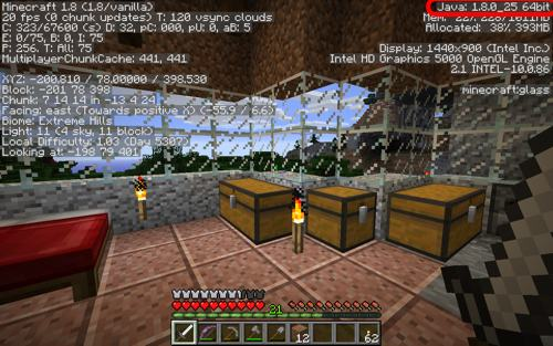 Minecraft screen showing Java 8 running on OSX Yosemite