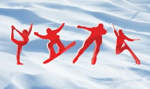 red winter games (olympics) figures over snowfield